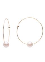 18KYG Akoya Cultured Pearl Flexible Wire Hoop Earrings