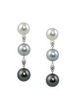18K Cultured Pearl And Diamond Drop Earrings