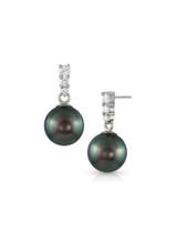 14K Tahitian Cultured Pearl And Graduated Diamond Dangle Earrings