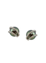 18K Tahitian Cultured Pearl And Diamond Earrings