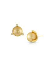 18KYG Golden South Sea Cultured Pearl And Diamond Martini Earrings