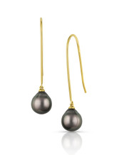 18KYG Tahitian Cultured Pearl Elongated Wire Earrings
