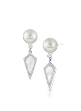 18K White South Sea Cultured Pearl With Diamond And Mother of Pearl Earrings