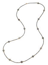 18KYG Tahitian Cultured Pearl And Black Diamond Necklace