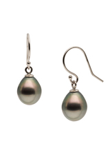 14K White Gold Tahitian Cultured Pearl Hook Earrings