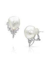 18KWG White South Sea Baroque Pearl Earrings