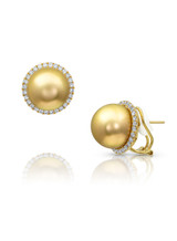 18KYG Halo Diamonds Golden Pearl Earrings