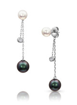 14KWG Multi Pearls Dangle Chain Earrings
