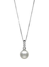 14K Three Diamonds Akoya Pearl Pendant