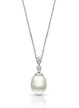 18KWG Two Diamonds White Pearl Pendant