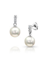 14K Akoya Cultured Pearl And Graduated Diamond Dangle Earrings