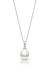 14KWG White South Sea Cultured Pearl And Diamond Pendant