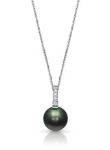 18K Tahitian Cultured Pearl And Pave Diamond Pendant