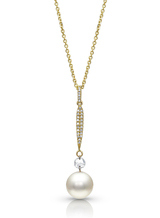14KYG Akoya Cultured Pearl with Rose Cut Diamond Pendant