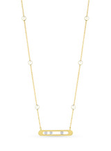 14KYG Akoya Pearl Diamond Channel Chain Necklace