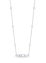 14KWG Akoya Pearl Diamond Marquise Channel Chain Necklace
