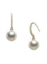 18KYG Akoya Cultured Pearl And Diamond Hook Earrings