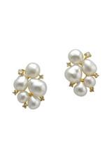 18KYG White South Sea Keshi And Diamond Earrings
