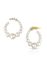 14KYG Baby Akoya Pearl Diamond Big Hoop Earrings