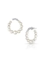 14KWG Baby Akoya Pearl Diamond Medium Hoop Earrings