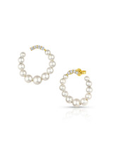 14KYG Baby Akoya Pearl Diamond Medium Hoop Earrings