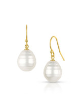 14KYG White South Sea Cultured Pearl Hook Earrings