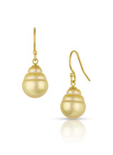 14KYG Golden South Sea Cultured Pearl Hook Earrings