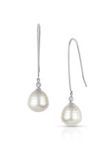 18KWG White South Sea Cultured Pearl Elongated Wire Diamond Earrings