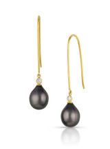 18KYG Tahitian Cultured Pearl Elongated Wire Diamond Earrings