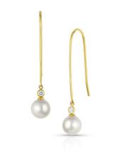 18KYG Akoya Cultured Pearl Elongated Wire Diamond Earrings