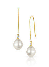 18KYG White South Sea Circle Cultured Pearl Elongated Wire Diamond Earrings
