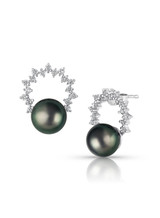 14KWG Tahitian Cultured Pearl Diamond Wreath Earrings