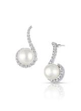 18KWG White South Sea Cultured Pearl Swirl Diamond Earrings