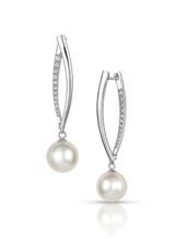 14KWG White South Sea Cultured Pearl Elongated Curved Bar Diamond Earrings
