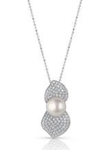 18K Akoya Cultured Pearl Double Leaf Pave Diamond Pendant