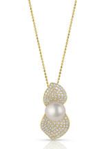 18KYG Akoya Cultured Pearl Double Leaf Pave Diamond Pendant