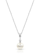 Classic 14K Akoya Cultured Pearl And Diamond Pendant