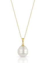 14KYG White South Sea Cultured Pearl Single Diamond Pendant