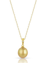 14KYG Oval Golden South Sea Cultured Pearl Single Diamond Pendant