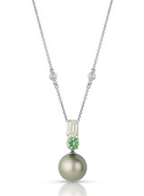 18K Tahitian Cultured Pearl Pendant With Tourmaline And Diamond Accents