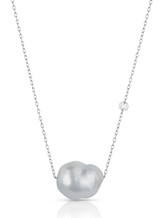 14K White South Sea Cultured Pearl Rose Cut Diamond Necklace