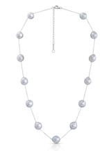 14K Silver Gray Akoya Cultured Pearl And Chain Necklace