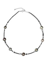 "18K Tahitian Cultured Pearl And Black Diamond 18"" Necklace"