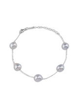 14K Natural Silver Gray Akoya Cultured Pearl Chain Bracelet