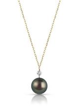 14KYG Round Shaped Diamond Tahitian Cultured Pearl Pendant