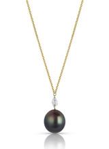 14KYG Pear Shaped Diamond Tahitian Cultured Pearl Pendant