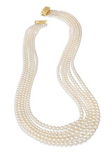 5-Row Nested Akoya Necklace With 18K Diamond Clasp