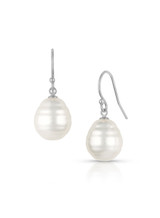 14KWG White South Sea Cultured Pearl Hook Earrings