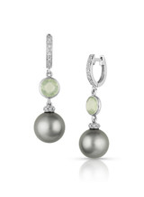 14KWG Tahitian Cultured Pearl With Colored Stone Earrings
