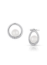 14K Akoya Cultured Pearl Semi Hoop Diamond Earrings